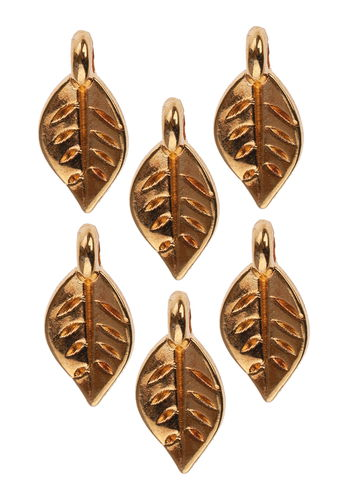 Metallanhänger, 6 Stück Mini-Blatt gold