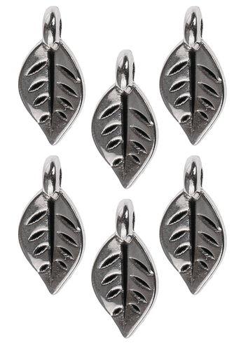 Ciondolo di metallo mini - foglie, color argento