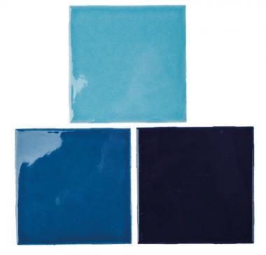 Mosaikfliesen, 3 Stück Blautöne (100 x 100 x 4 mm)