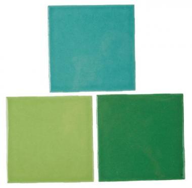 Mosaikfliesen, 3 Stück Grüntöne (100 x 100 x 4 mm)