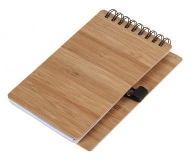 Bloc de notas de bambú con portalápices (9 x 14cm)