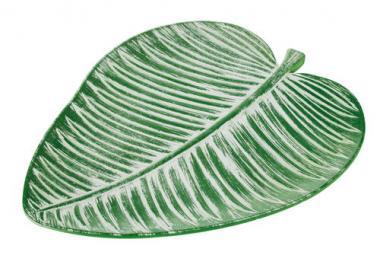 Houten bord - Blad (30 x 37,5 cm) groen/wit