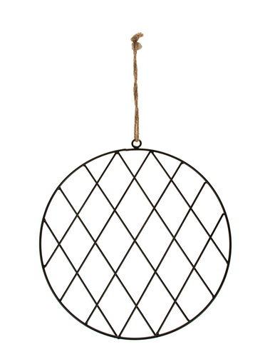 Anneau métallique avec grille, noir (28 cm)