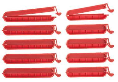 Sluitclips, kunststof, rood, 10 stuks