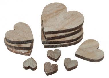 Corazones de madera, 30 ud. medidas surtidas