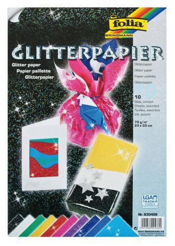 folia Glitterpapier 70 g//qm 230 x 330 mm farbig sortiert 10 Blatt